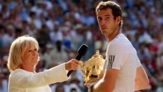 Sue Barker interviews Andy Murray after his 2016 Wimbledon win