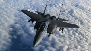 A United States Air Force F-15 Strike Eagle fighter jet