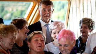 Czech Prime Minister Andrej Babis poses for a photograph with fans during his campaign cruise with supporters on a ship at Brno Reservoir on October 01, 2021