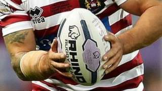 Close-up of rugby ball