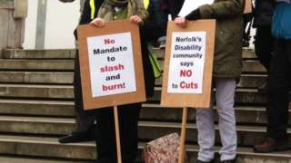 Protest at Norfolk County Council HQ