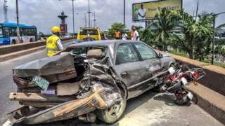 LASEMA dey respond to road accident for Lagos state