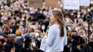 Climate activist Greta Thunberg addresses rally in Berlin (24 Sept)