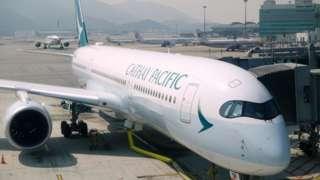 Cathay Pacific plane at Hong Kong airport.