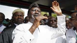 """Raila Odinga delivers a speech after """"taking an oath"""" during the """"swearing-in"""" ceremony in Nairobi, Kenya, 30 January 2018."""
