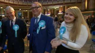The Brexit Party winning MEPs (from left) Jake Pugh, John Longworth and Lucy Harris