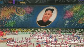 An image of North Korean leader Kim Jong-un created by performers during the opening day of the Mass Games in Pyongyang, North Korea