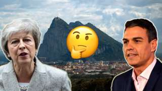 Image of prime minister Theresa May, Spanish prime minister Pedro Sanchez, and the rock of Gibraltar