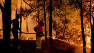 Firefighters battle forest fires in Antalya on 1 August, 2021
