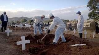 Похороны умерших от ковида в Бразилии