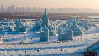 A wide view of an ice city at Harbin ice festival