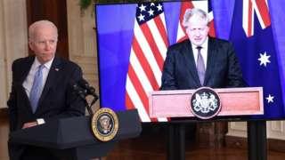 Joe Biden and Boris Johnson at Aukus announcement