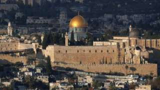 Jerusalem's Old City and the compound known to Muslims as Noble Sanctuary and to Jews as Temple Mount, 6 December 2017
