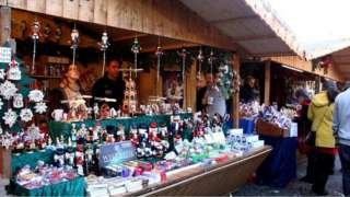 Christmas market stall in Manchester