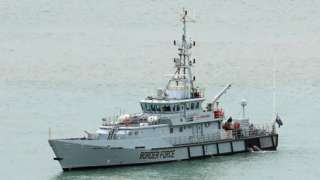 HMC Searcher, one of four cutter ships patrolling UK waters