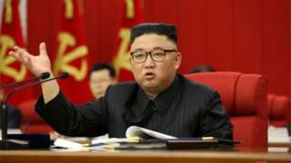 """Kim Jong-un speaks during the opening of the 3rd Plenary Meeting of the 8th Central Committee of the Workers"""" Party of Korea"""