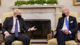 Boris Johnson and Joe Biden in the Oval Office on 21 September 2021