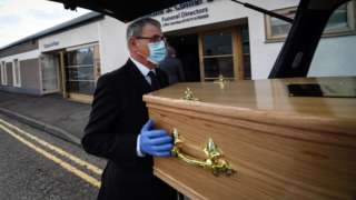 funeral director with coffin