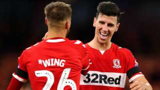 Middlesbrough's Lewis Wing and Daniel Ayala