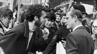 Student demonstrator with Prince Philip at University of Salford 1968
