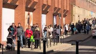 Queue outside Debenhams in Ipswich