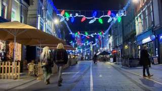 Cardiff city centre at night with festive street lights