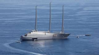 """Sailing yacht """"A"""" which features a wall made of stingray hides"""