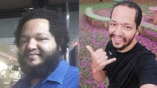 Duas fotos de Danilo: uma em 2017 e outra depois de ter perdido 60kg