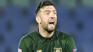Shane Duffy shows his delight after heading the Republic's late equaliser in Sofia