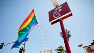 The Chick-fil-A at the 'Chick-Fil-A Is Anti-Gay!' PETA and LGBT community protest at Chick-fil-A on August 1, 2012 in Hollywood, California.