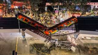 An aerial view of the scene after an elevated section of metro track in Mexico City