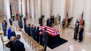 Ginsburg's casket in the Supreme Court
