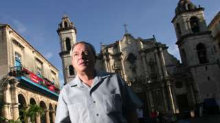 Eusebio Leal walks at the Cathedral square, May 5, 2004, in Havana, Cuba