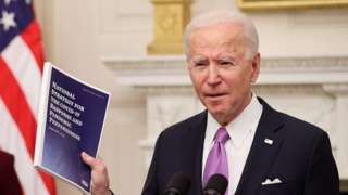 """President Joe Biden speaks about his administration""""s plans to fight the coronavirus disease (COVID-19) pandemic during a COVID-19 response event at the White House in Washington, U.S., January 21, 2021."""