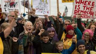 Fashion designer Dame Vivienne Westwood campaigns with fellow anti-fracking protesters