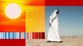 Image of sun and Iraqi man walking across bare earth