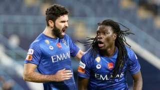 Bafetimbi Gomis celebrates after scoring for Al Hilal