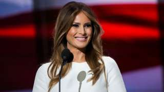 Melania Trump, wife of Republican presidential nominee Donald Trump, arrives to speak on the first day of the Republican National Convention on July 18, 2016