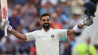 Virat Kohli celebrates his century