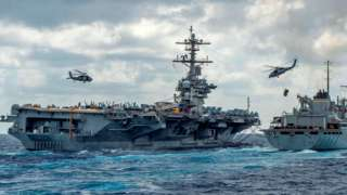 The USS Abraham Lincoln is seen in a handout picture