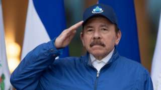Nicaragua's President Daniel Ortega salutes during a ceremony to mark the 199th Independence Day anniversary, in Managua, Nicaragua September 15, 2020.