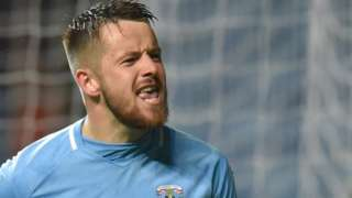 Marc McNulty celebrates his goal for Coventry