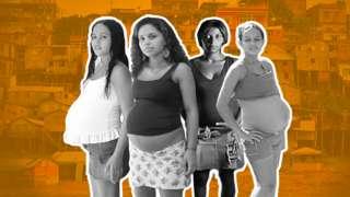 Montagens com fotos de Evelin, Edilene, Joice e Luana na adolescência