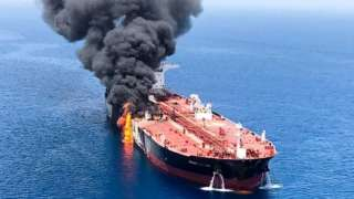 Iran's Isna news agency published an unverified image of what it said was a burning tanker in the Gulf of Oman