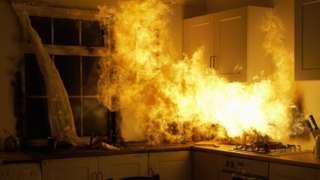 A kitchen fire
