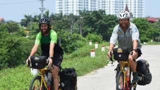 James Owens and Ron Rutland cycling