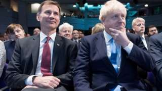 Jeremy Hunt and Boris Johnson after the latter was elected Conservative leader in July