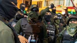 Police officers are seen at their headquarters in Cochabamba, Bolivia