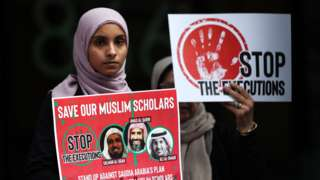 Women protest outside the Saudi consulate in New York on 1 June 2019 to protest against death sentences reportedly given to three Muslim clerics in Saudi Arabia