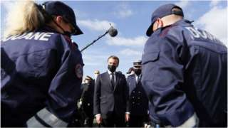 President Macron speaks to security officials at Le Perthus on the border with Spain on 5 November 2020